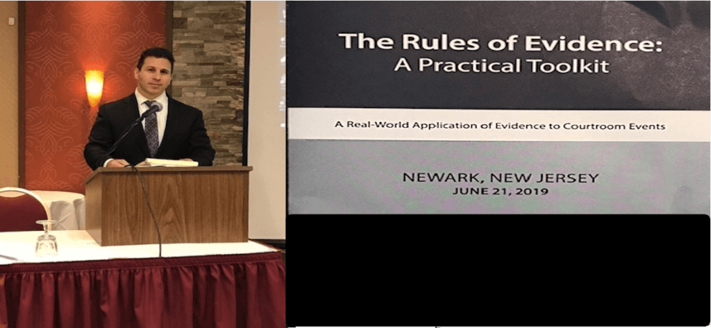 Bryan Mintz Attorney Mintz & Geftic speaking at podium to NJ legal professionals