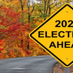 "Fall leaves on road with yellow caution sign having text of ""2020 Elections Ahead"""
