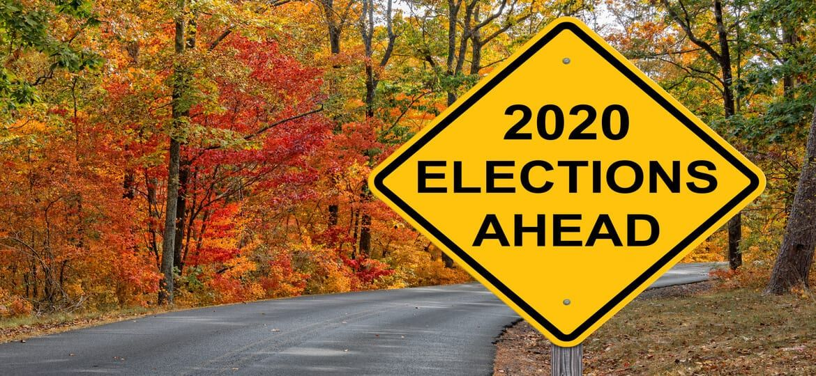 """Fall leaves on road with yellow caution sign having text of """"2020 Elections Ahead"""""""