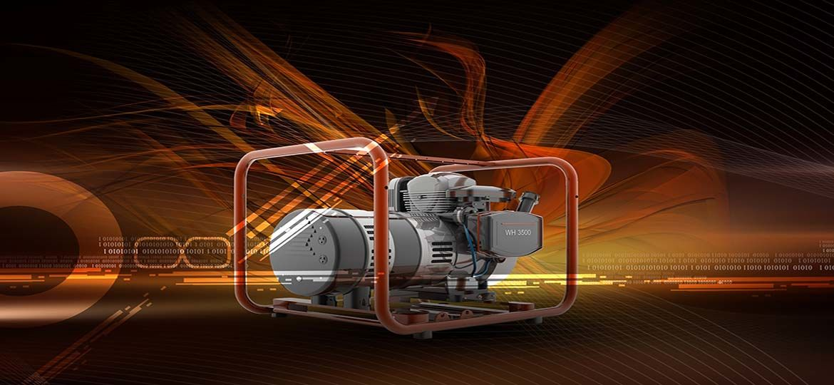 Bright orange background with wavy images and portable power generator in center of display